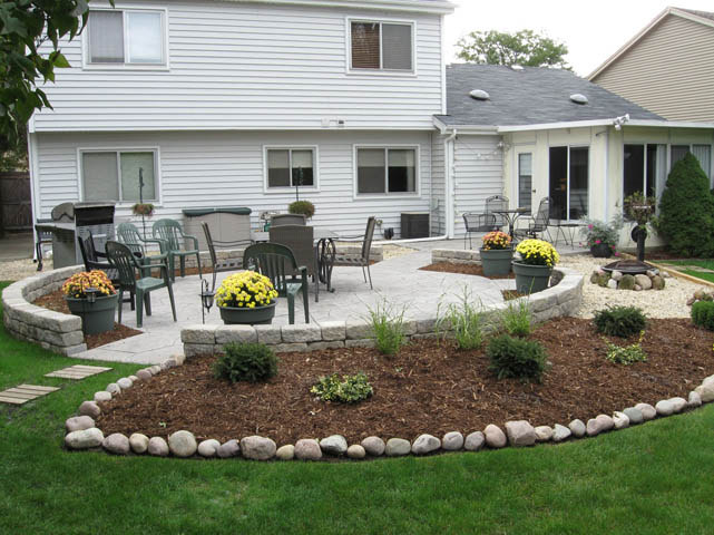 patio attractive the outdoor backyard with patios concrete stamped bench curved